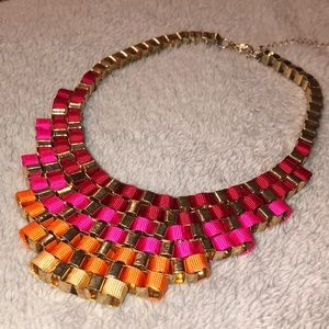 Red Ombré Ribbon Statement Necklace